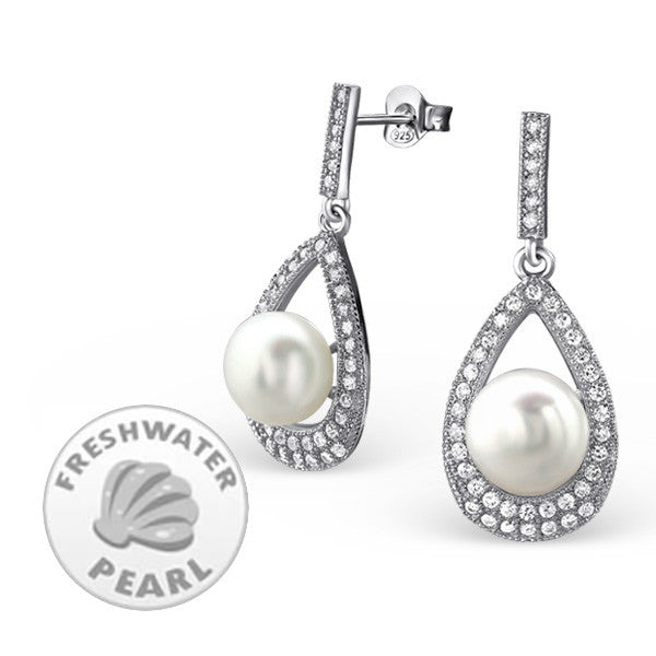 Pavé Teardrop Earrings in Sterling Silver with Freshwater Pearls - Little Bisous