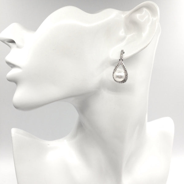 Pavé Teardrop Earrings in Sterling Silver with Freshwater Pearls