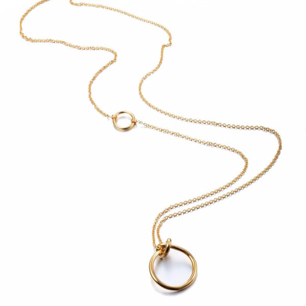 Knot Ring Pendant Stainless Steel Long Necklace