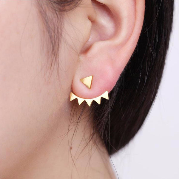 Geometric Triangle Stainless Steel Ear Jackets
