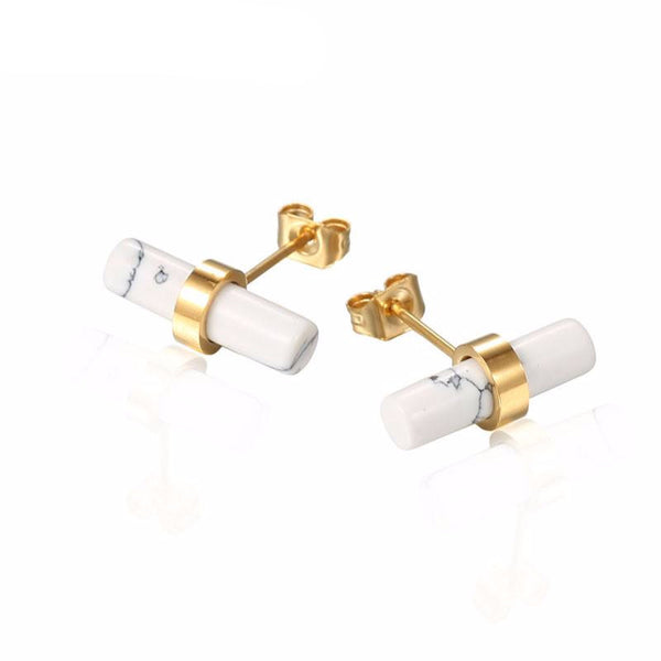 Nicole Howlite Stainless Steel Stud Earrings