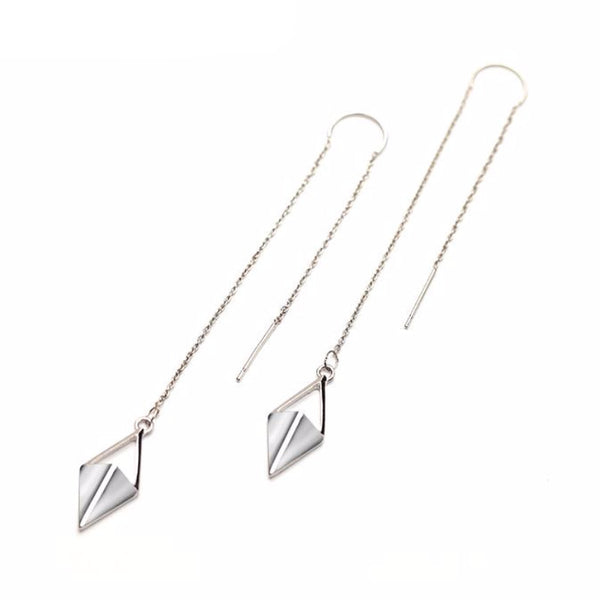 Triangular Pendant Silver Threader Earrings