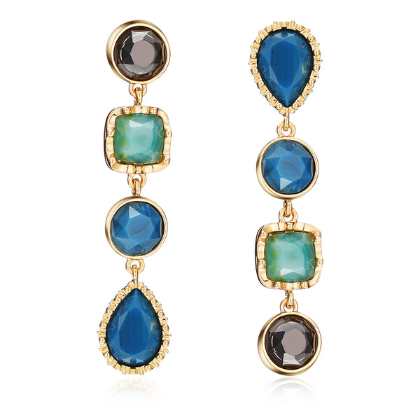 Vicky Gem Drop Earrings in Blue