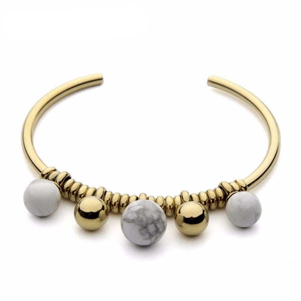 Gold Plated Howlite Ball Stainless Steel Cuff