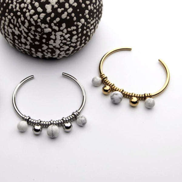 Howlite Ball Stainless Steel Cuff