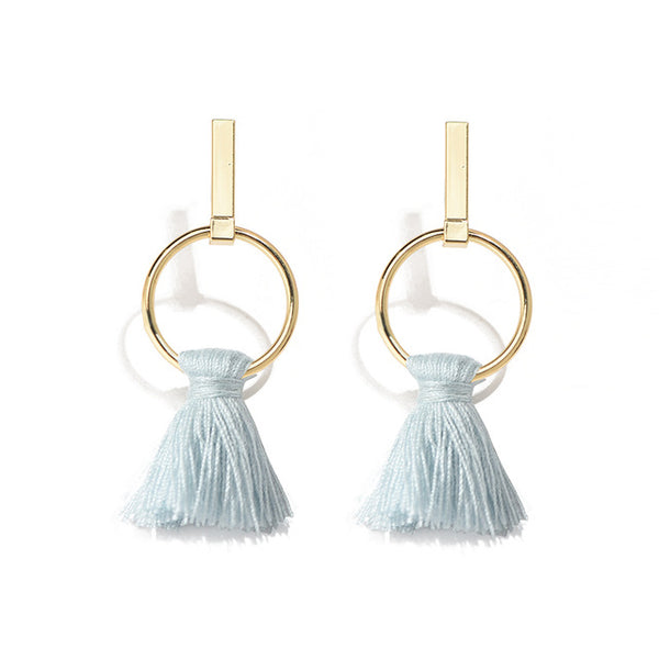 Abby Light Blue Tassel Earrings