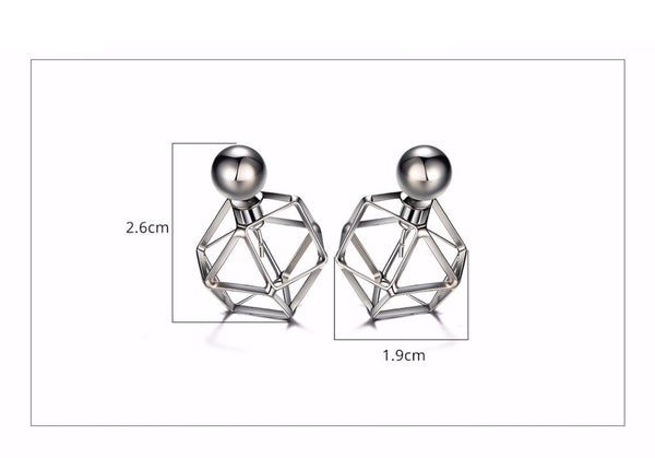 Futuristic Gunmetal Plated Double Sided Stud Earrings