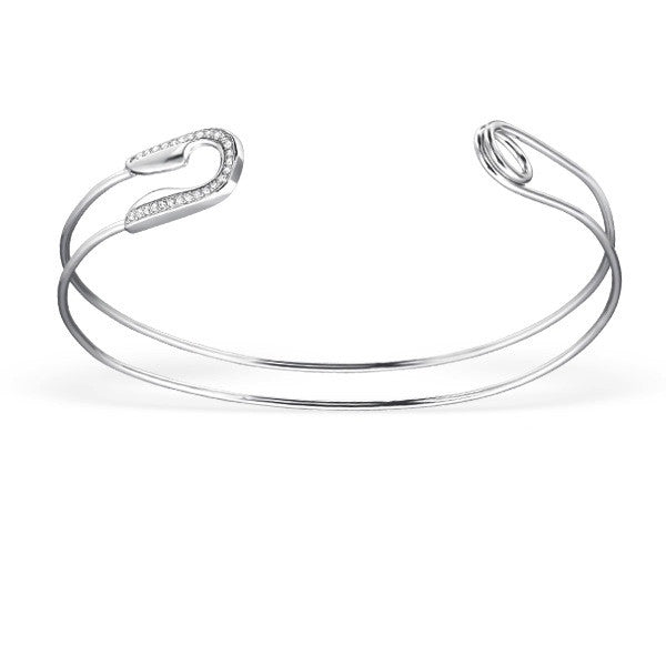 Safety Pin Pavé Cuff in Sterling Silver