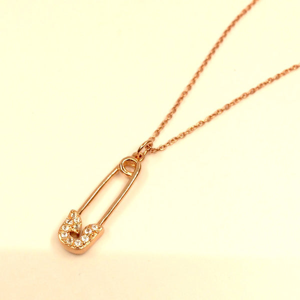Safety Pin Pendant Necklace in Rose Gold Plated Sterling Silver