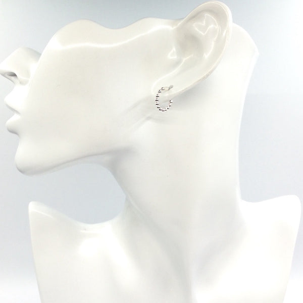 Small Bead Hoop Earrings in Sterling Silver - Little Bisous