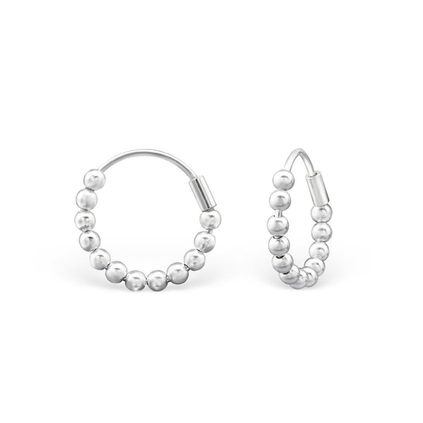 Small Bead Hoop Earrings in Sterling Silver
