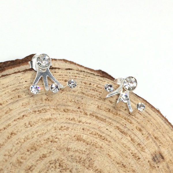 Sparklers Crystal Ear Jackets in Sterling Silver - Little Bisous Jewelry - 1
