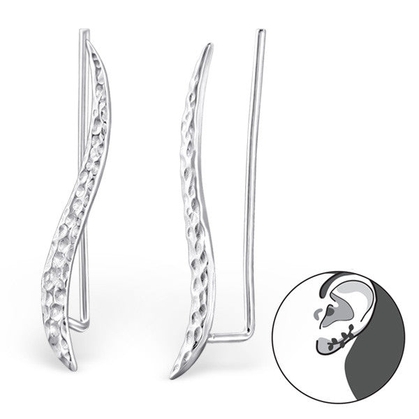 Textured Curved Ear Crawlers in Sterling Silver - Little Bisous