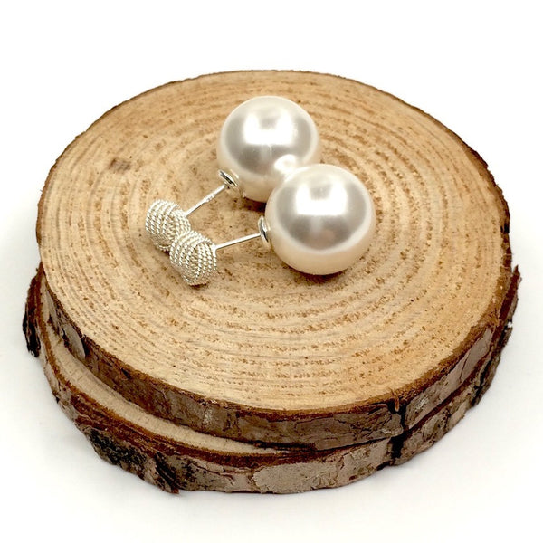 Twist Knot Pearl Double Sided Earrings in Sterling Silver