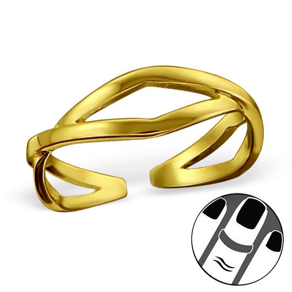Twist Midi Ring in Gold Plated Sterling Silver