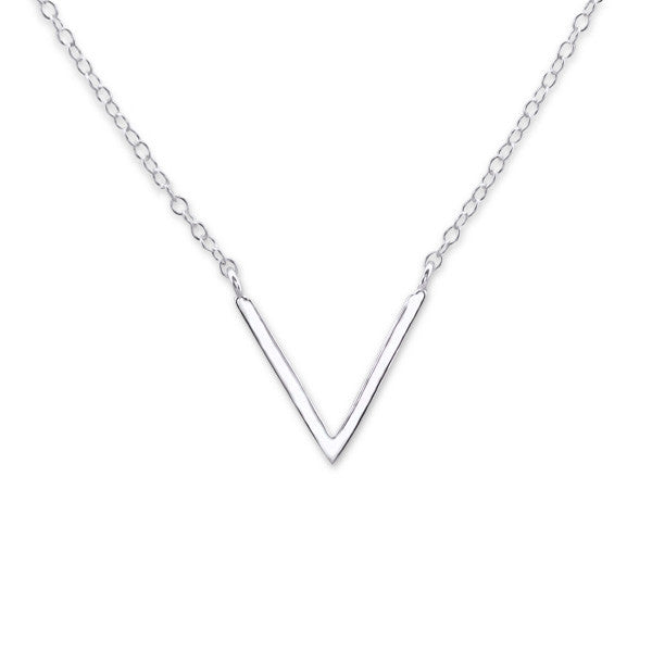 V Pendant Necklace in Sterling Silver