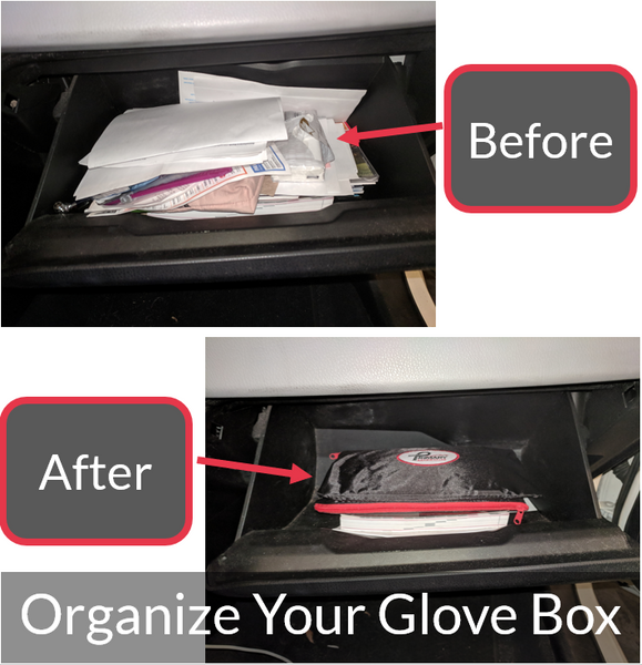 Glove Box Organizer With Zipper To Keep Car License and Registration Documents Organized and Tools Sorted