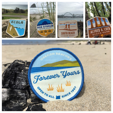 "21 Oregon State Parks - ""Oregon Beaches"" Iron-on Patch Set"