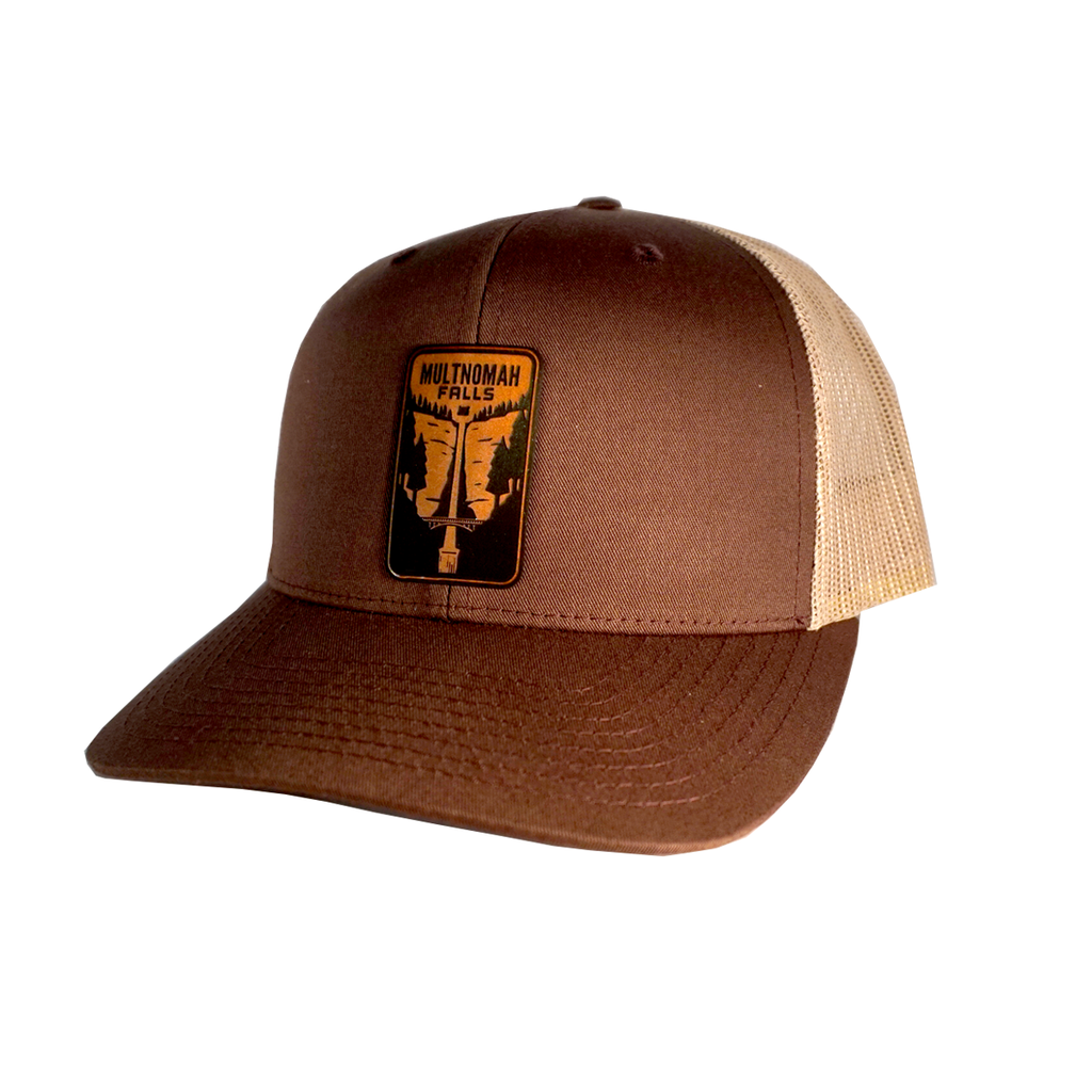 Multnomah Falls Leather Patch Trucker Hat - Brown / Tan