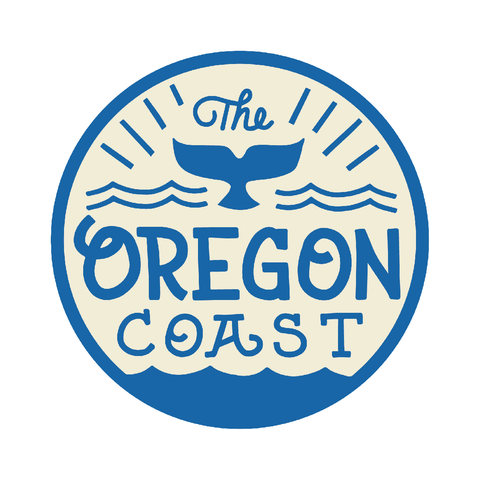 """Whale's Tail"" Oregon Coast - 3.5"" Round Sticker"