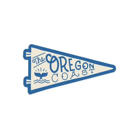 """Whale's Tail"" Oregon Coast Pennant Vinyl Sticker"