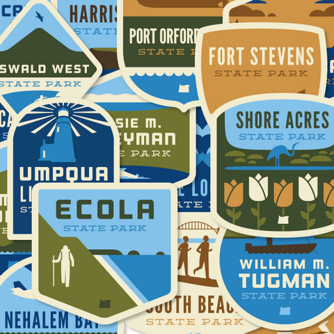 "23 Oregon State Parks - ""Oregon Coast"" Vinyl Sticker Set"