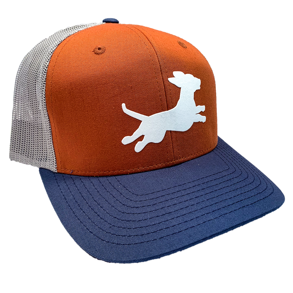 Firecracker Wiener National Orange/Navy Trucker Hat