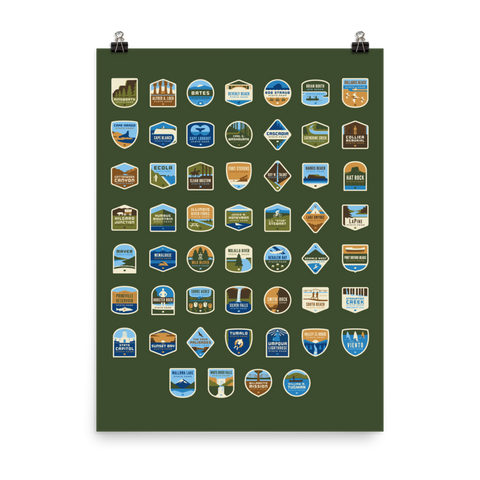 "53 Oregon State Parks ""Bedroom Poster"" 18""x24"""