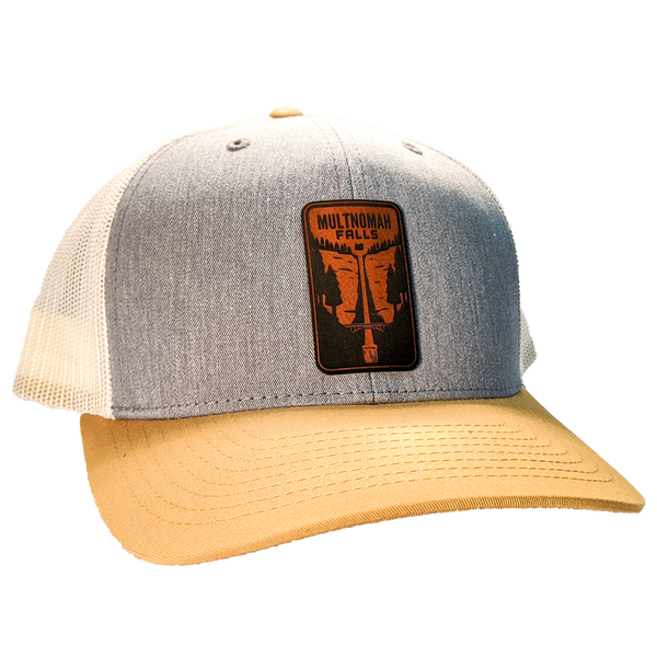Multnomah Falls Leather Patch Trucker Hat