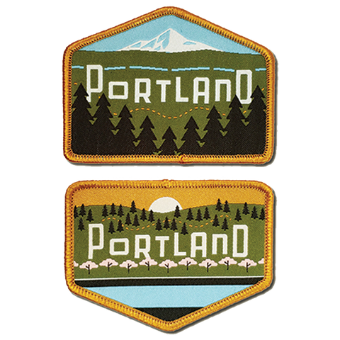"Portland Skyline ""East snd West"" 2 Iron-on Patch Set"