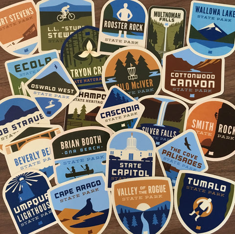 Complete Box Set of (63) Oregon State Park Stickers