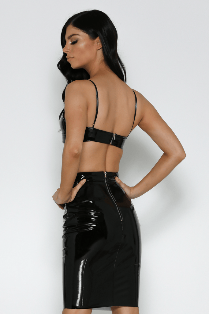 Armani Latex Crop Top In Black