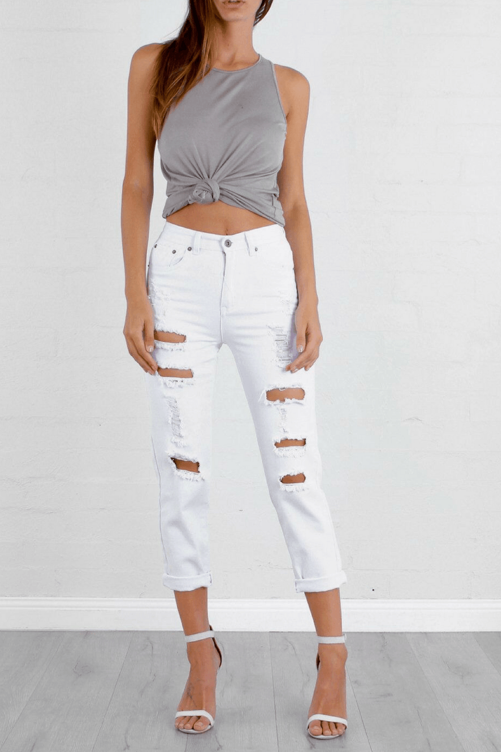 Misguided White Ripped Jeans