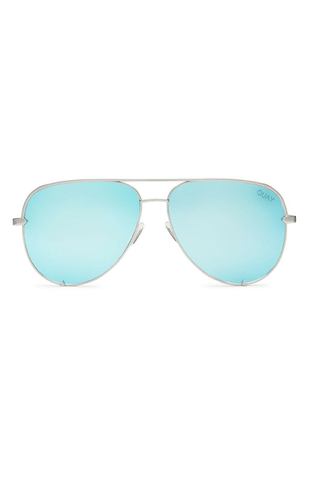 Quay x Desi High Key Sunglasses in Silver/Blue Mirror - QUAY AUSTRALIA