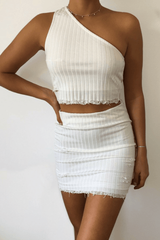 Bobbi Mini Skirt in White - B X RUNAWAY
