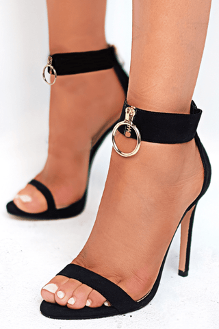 Fantana Heels in Black Satin - Billini Shoes