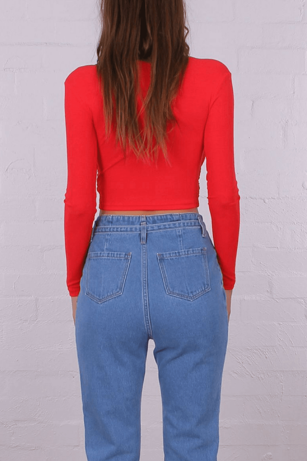 Camilla Red Long Sleeve Crop Top