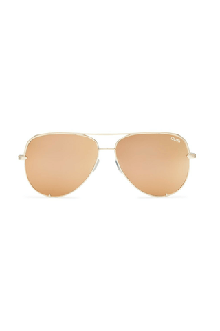 Quay x Desi High Key Sunglasses in Gold/Gold Mirror - QUAY AUSTRALIA