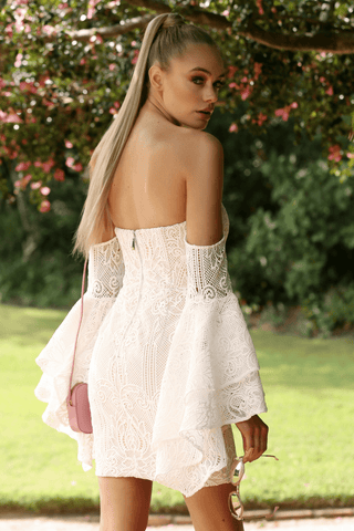 Baroque Lace Dress In White - Runaway The Label