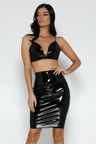 Armani Latex Skirt In Black