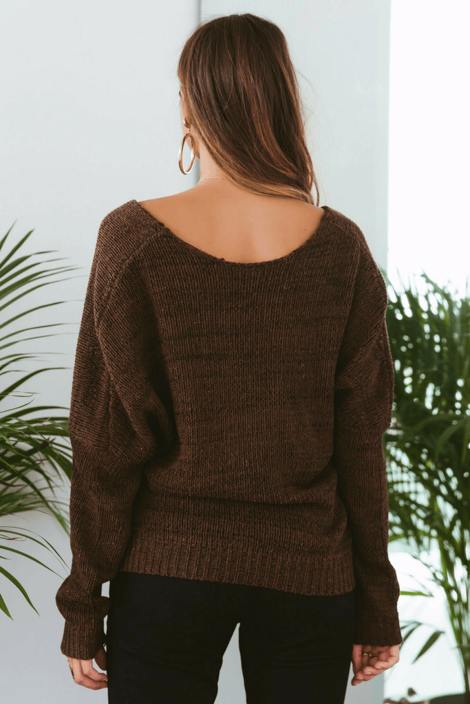 Double Cross Knit Top In Chocolate