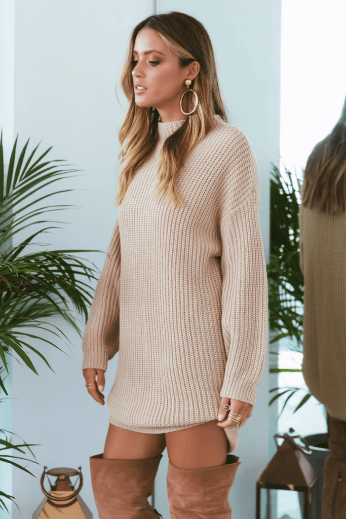 Oxford Knit Dress in Sand