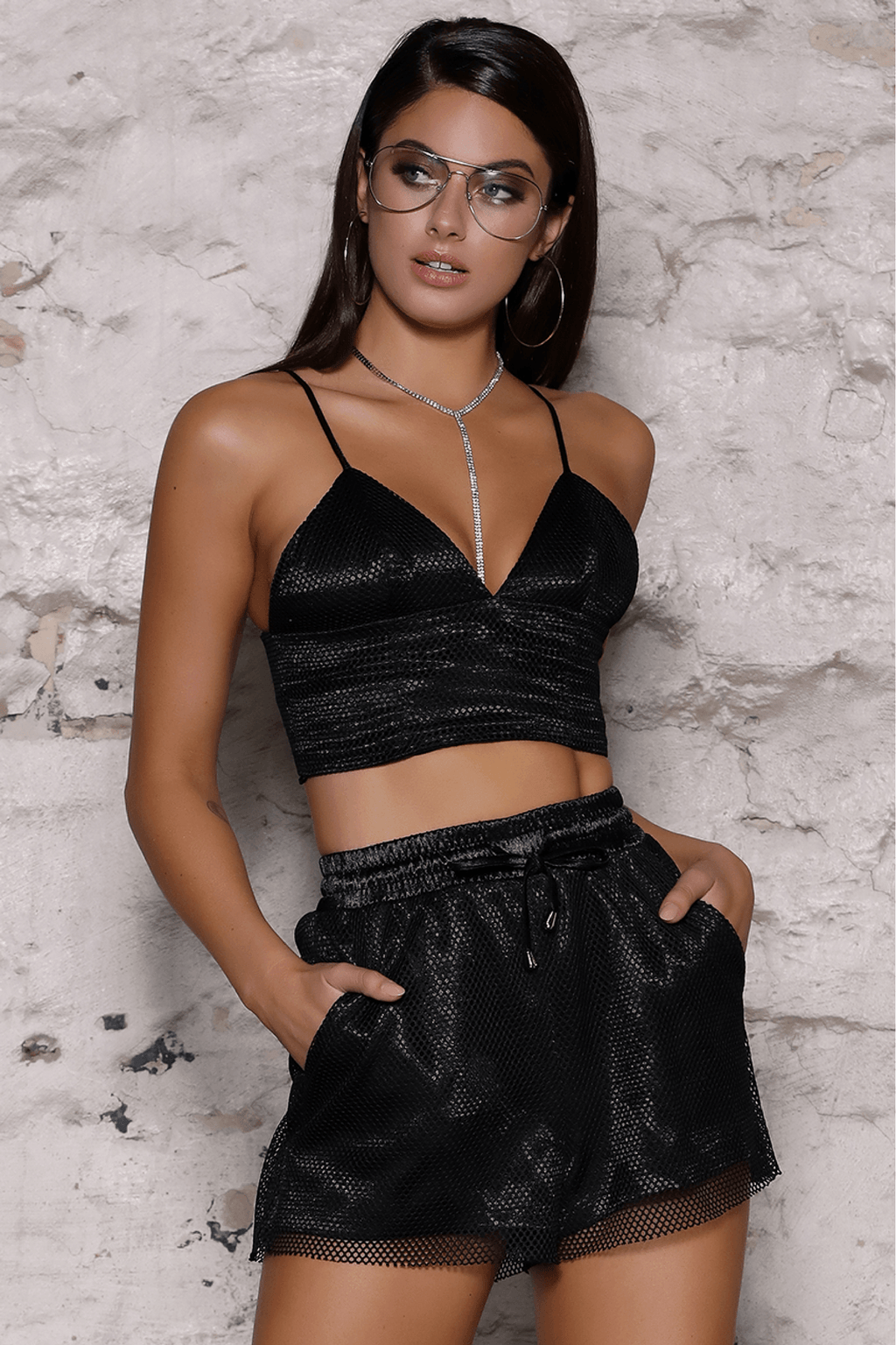 Brandy Mesh Bustier In Black- B X RUNAWAY