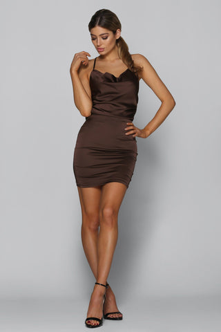 Bad Influence Satin Dress in Brown