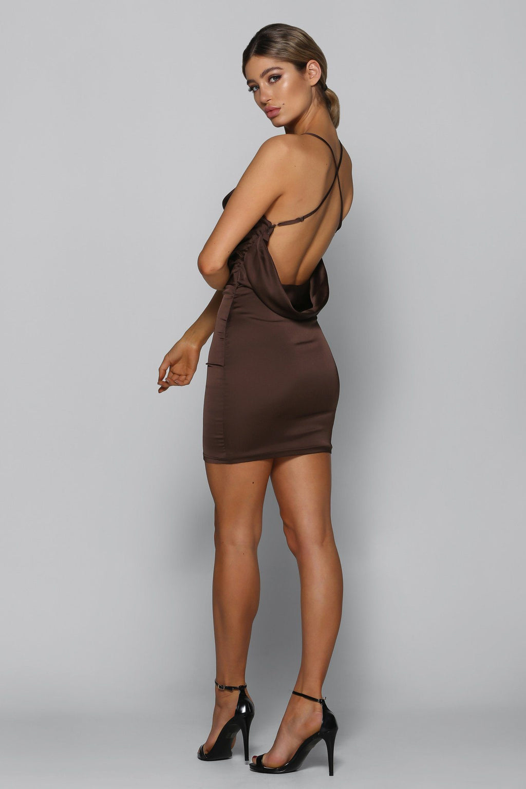 Bad Influence Satin Dress in Brown - Bad AF Fashion