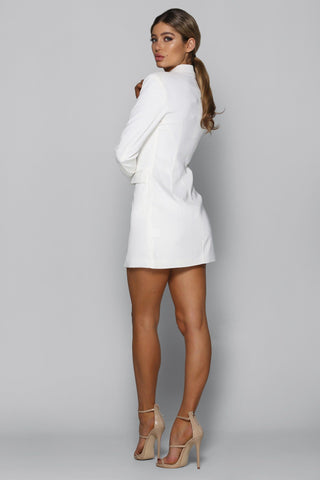 Mira Blazer Dress in White
