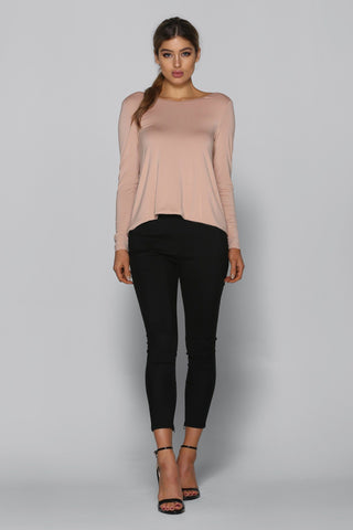 Nora Long Sleeve Top in Beige