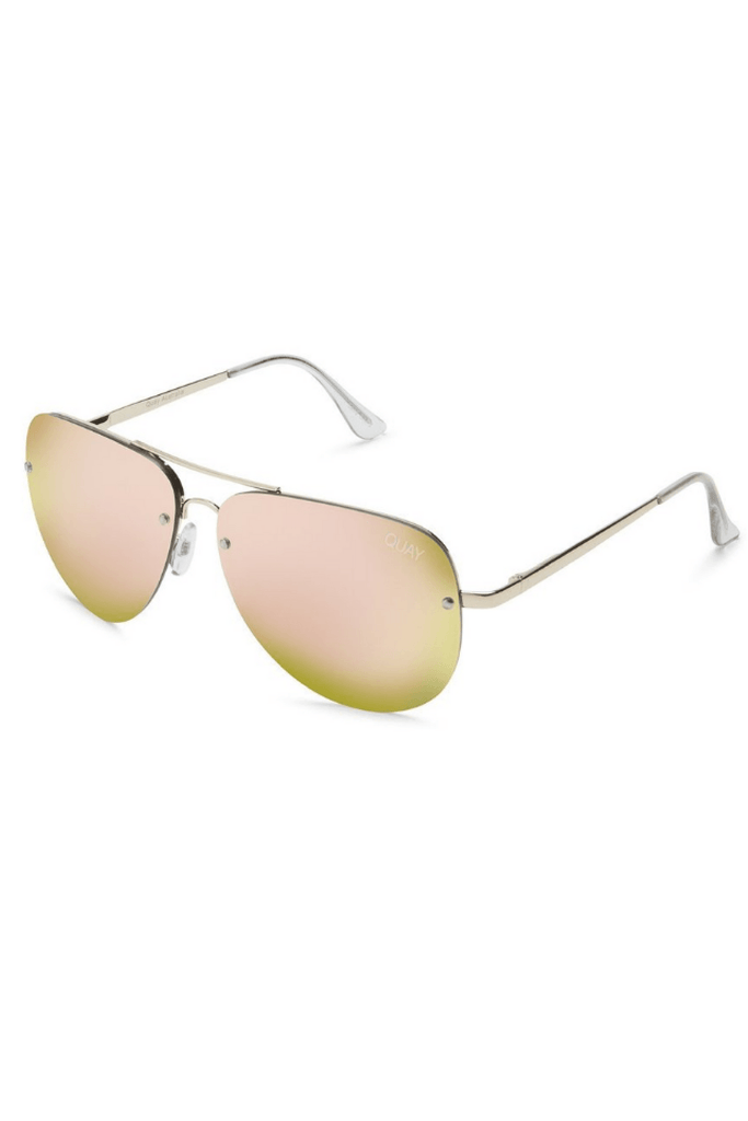 Muse Sunglasses in Gold and Pink - QUAY AUSTRALIA