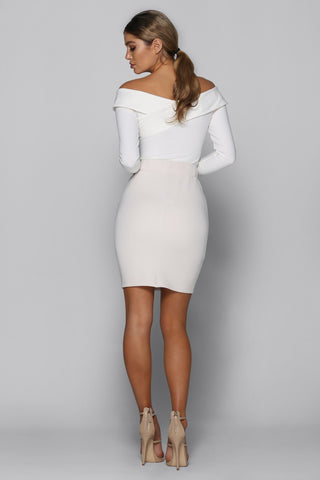 Alana High Waist Skirt in Nude