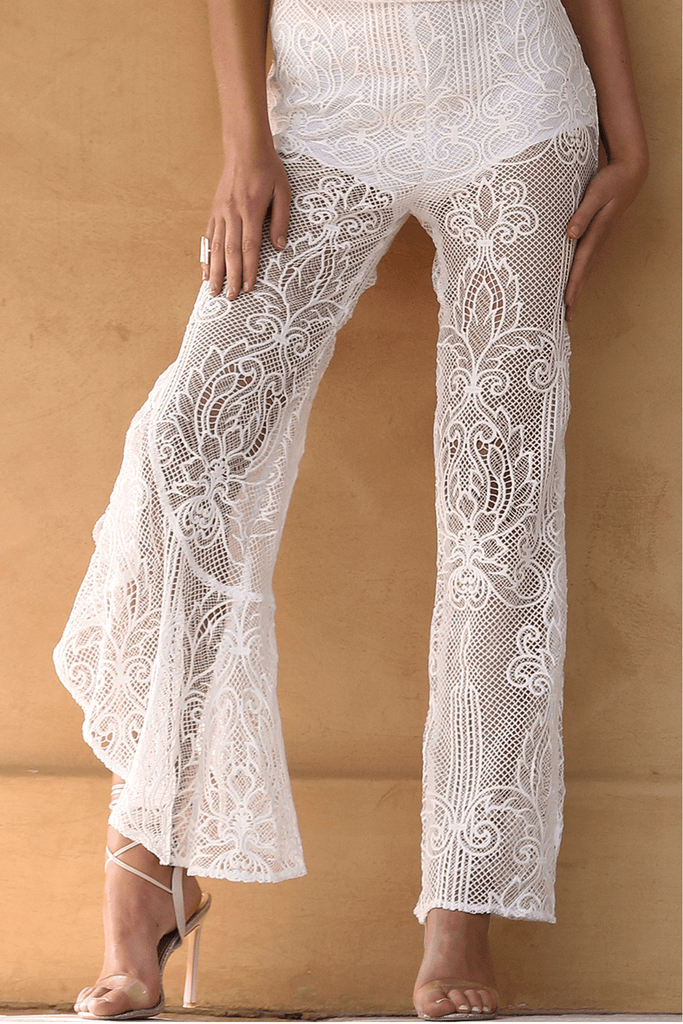 Baroque Lace Pants In White - Runaway The Label